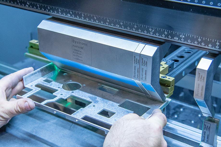 Closeup of metal fabrication